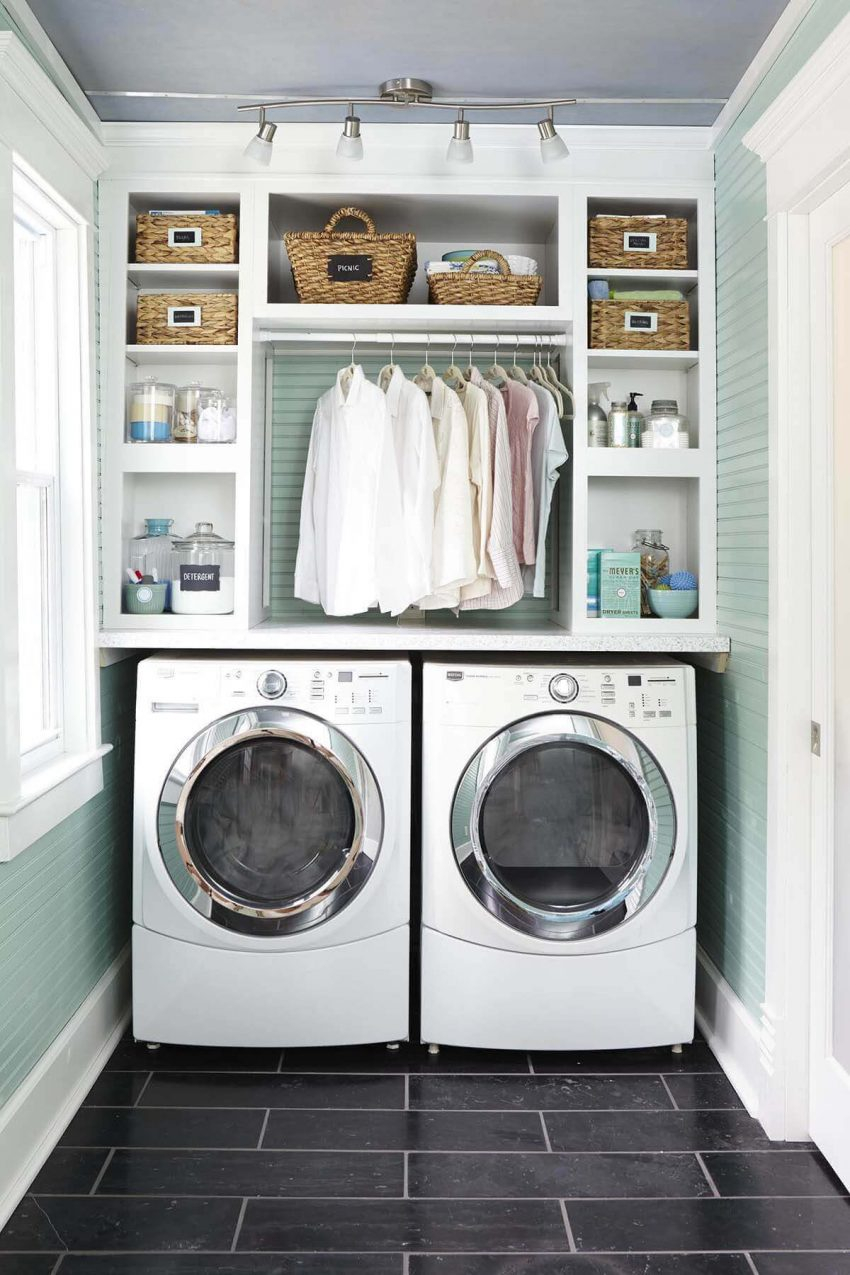 Cute Small Laundry Room Ideas - Stack Them Up - Harptimes.com