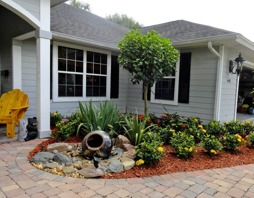Front Yard Landscaping Ideas - Clay Fountain Tells More - Harptimes.com