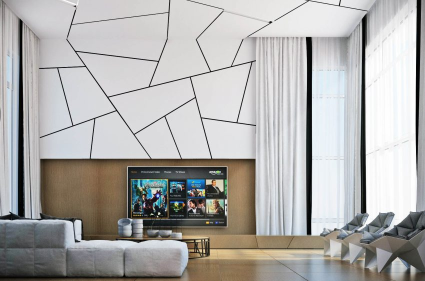 Geometric Accent Wall Ideas with TV - Harptimes.com