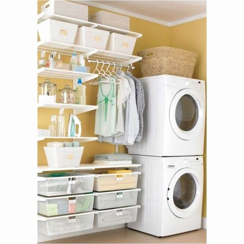 DIY Small Laundry Room Ideas - Plastic Containers are always Great - Harptimes.com