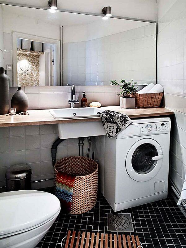 Best Small Laundry Room Ideas - Merge The Laundry Room with Bathroom - Harptimes.com