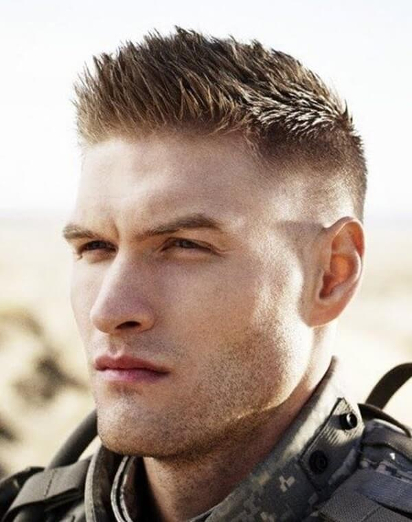 9. Short military haircut - Brush Cut Military Hairstyle - Harptimes.com