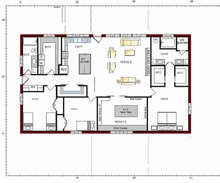 Barndominium Floor Plans - 1. 3 Bedrooms, 2 Bathrooms, 1 Working Room
