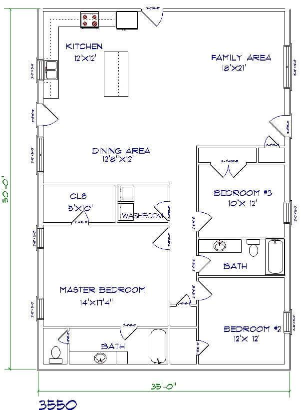 Barndominium Floor Plans - 3. Simple House with Open Kitchen Style