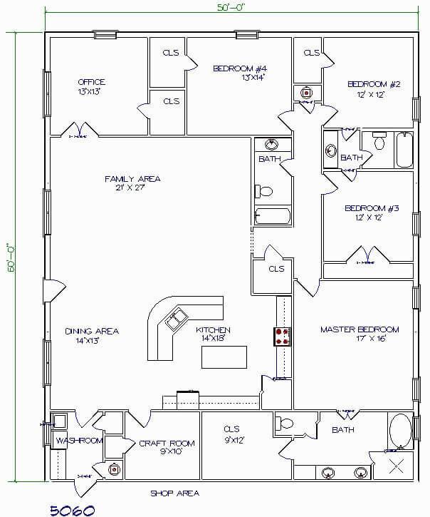 Barndominium Floor Plans - 4. 4 Bedrooms, One Office, One Craft Room