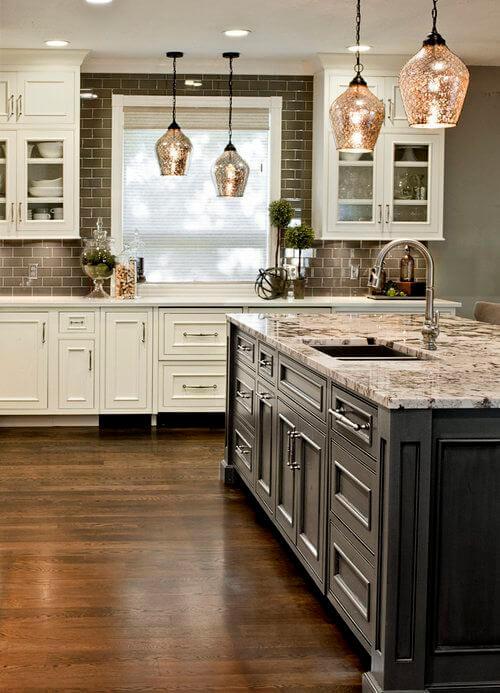 small kitchen decor ideas - 22. Kitchen with Gray Island - Harptimes.com