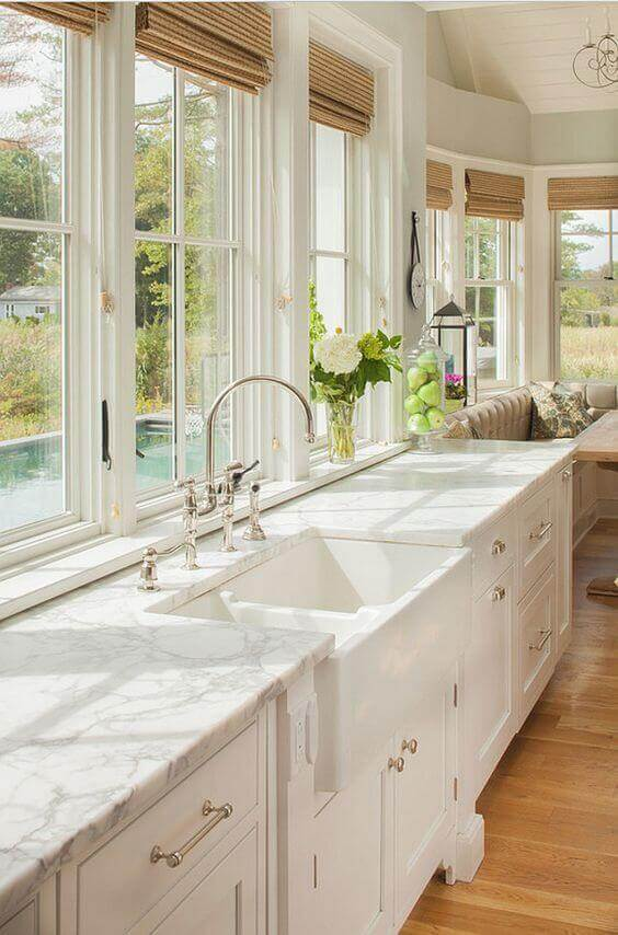 country kitchen decor ideas - 25. Kitchen with Signature Hardware Sink - Harptimes.com