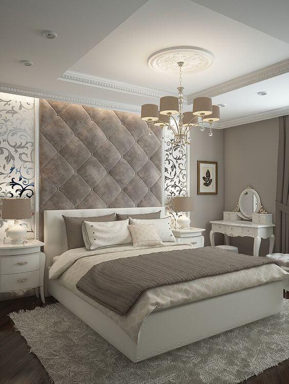 13. Tufted Wall Above Headboard in Master Bedroom Ideas - Harptimes.com
