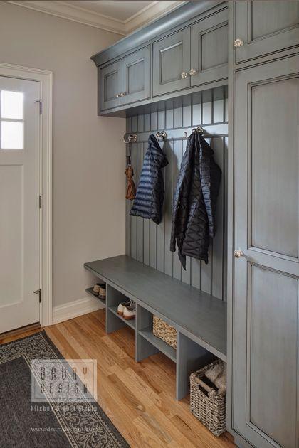 laundry mudroom ideas - 7. Gray Mudroom Storage with Cabinets - Harptimes.com