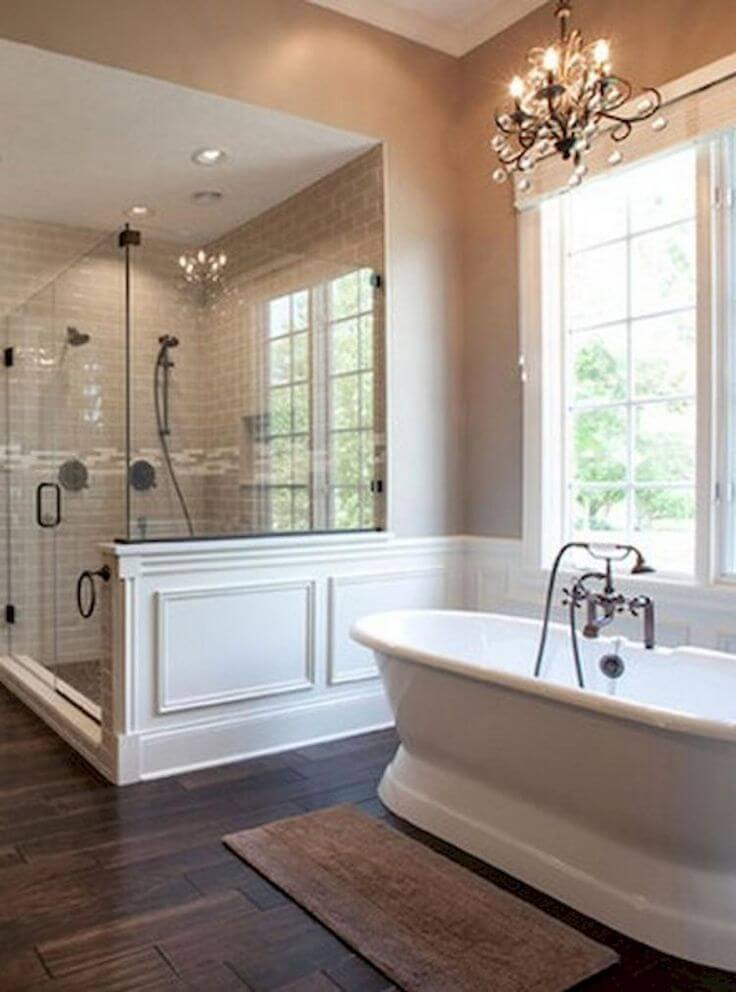 A Cast Iron Double-Ended Pedestal Tub in Master Bathroom Ideas - Harptimes.com
