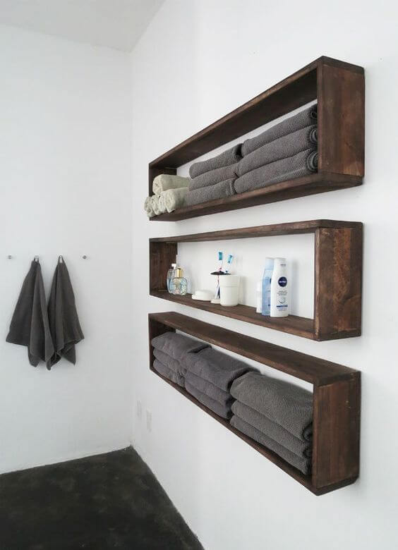 Bathroom Color Paint Ideas Dark Pallet Shelves in White Bathroom - Harptimes.com
