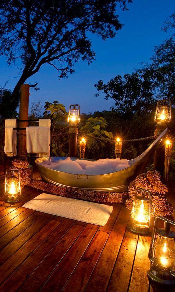 Bathroom Lighting Ideas Outdoor Bathroom with Romantic Lanterns - Harptimes.com