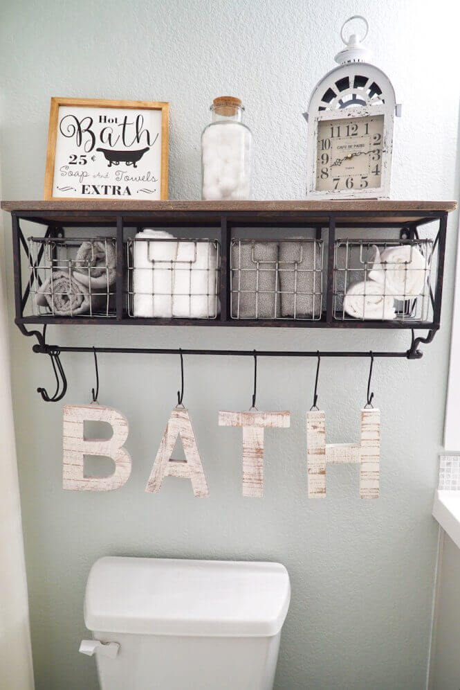 Bathroom Storage Ideas Easy DIY Decoration above the Toilet - Harptimes.com