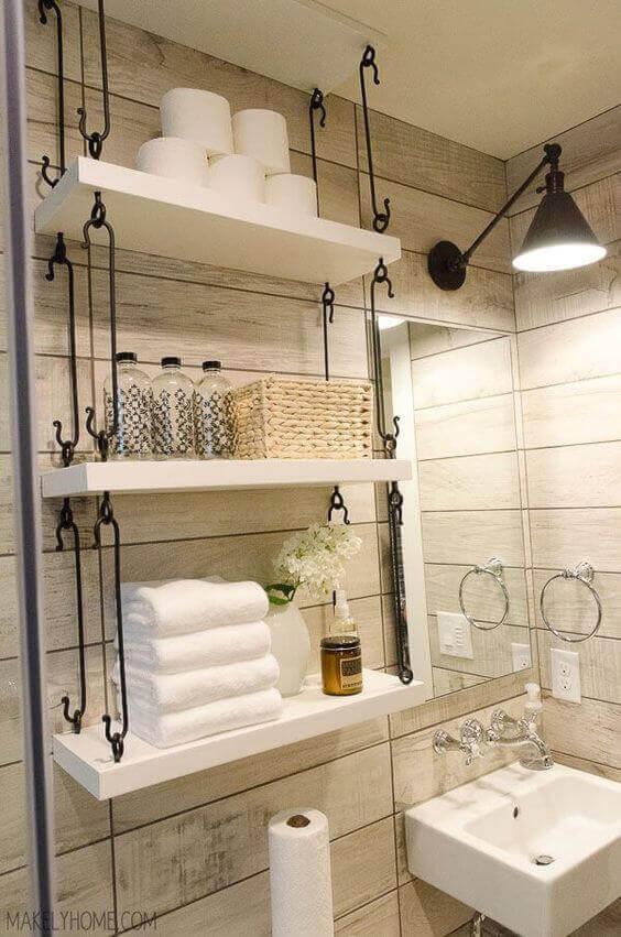 Bathroom Storage Ideas Hanging Shelves beside Vanity - Harptimes.com