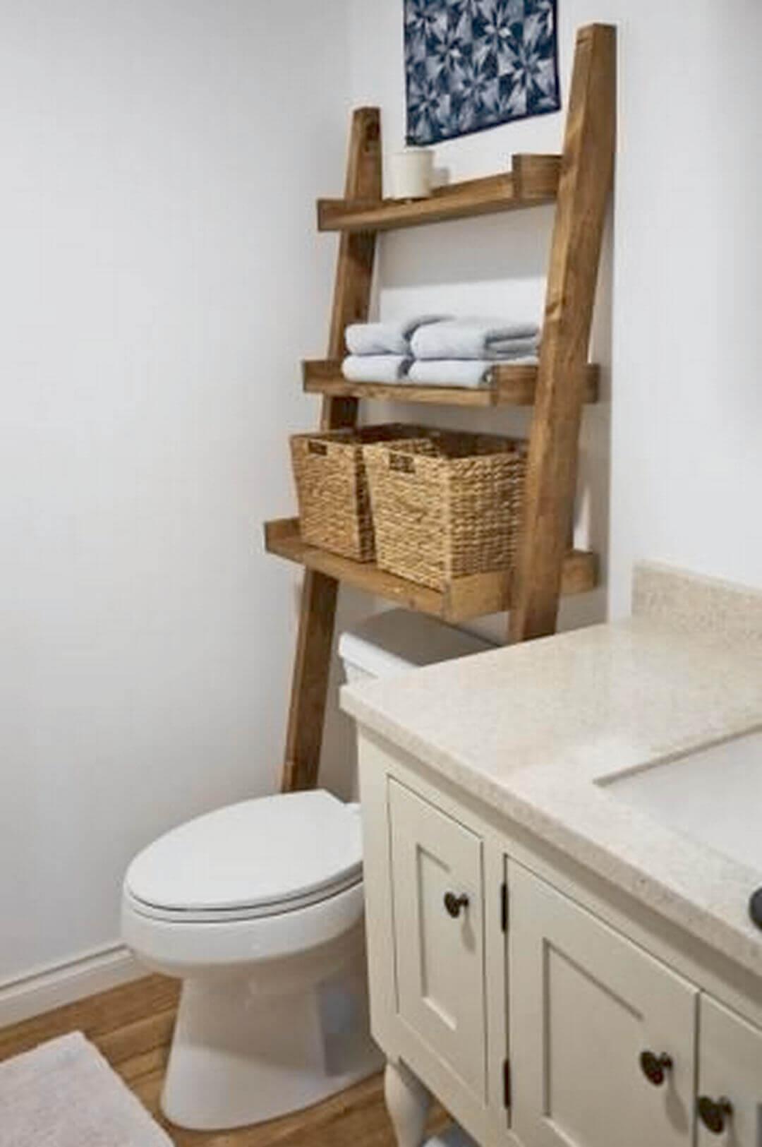 Bathroom Storage Ideas Ladder Organizer on the Toilet - Harptimes.com