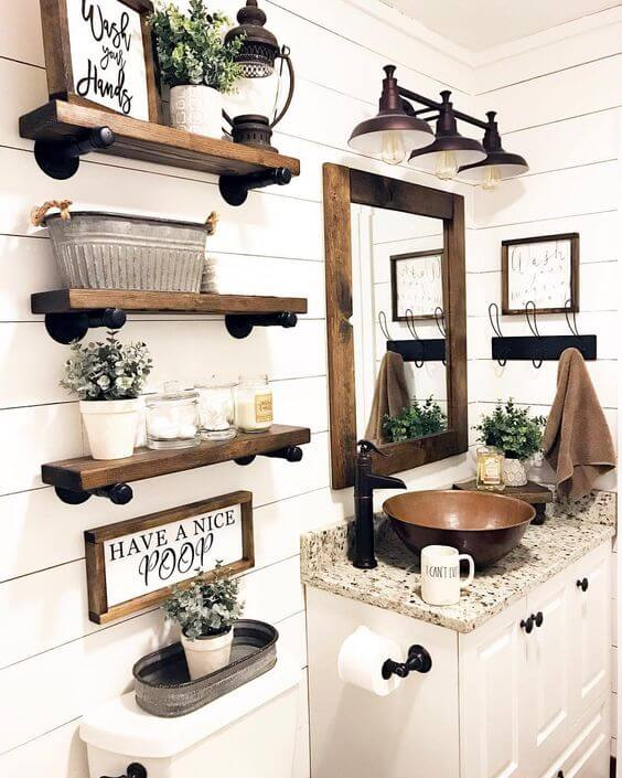 Bathroom Wall Decor Country Bathroom Shelves - Harptimes.com