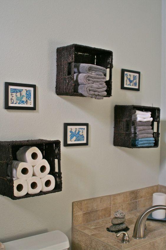 Bathroom Wall Decor Woven Basket Shelf on Wall