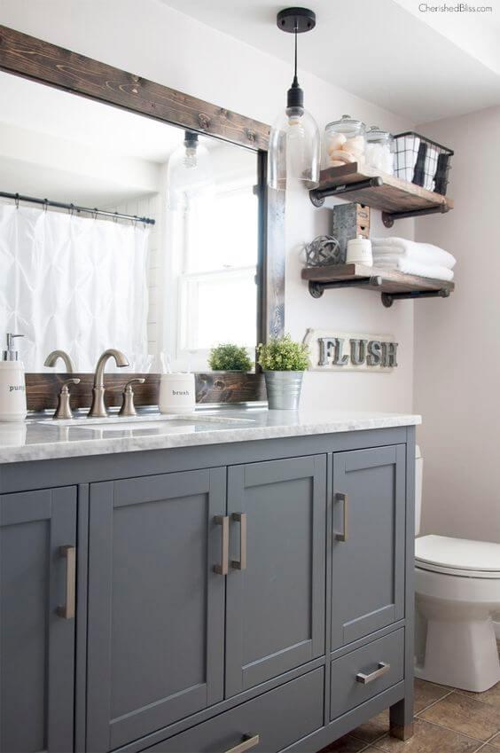 Guest Bathroom Ideas Gray Cabinet and Dark Wood Frame - Harptimes.com