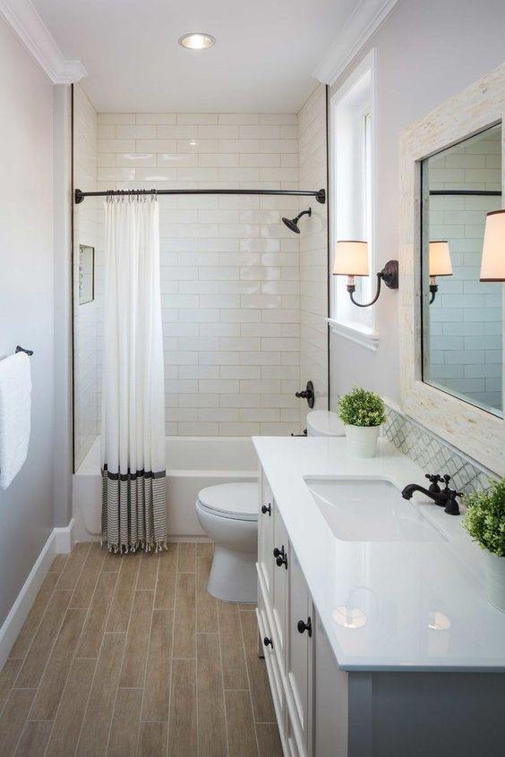 Guest Bathroom Ideas Wood Grain Tile Floor in the Bathroom - Harptimes.com
