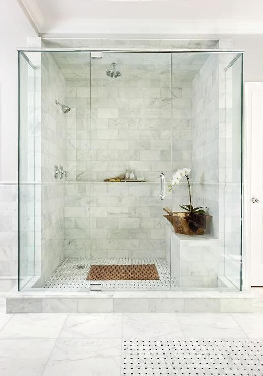 Marble and Stone Inspired Tile for Shower Room Walk In Shower Tile Ideas - Harptimes.com