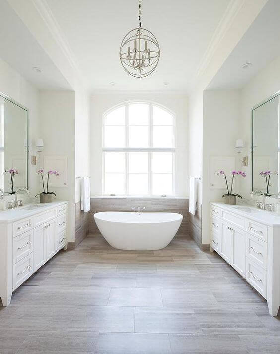 Master Bathroom Ideas Large White with Face-To-Face Vanity - Harptimes.com