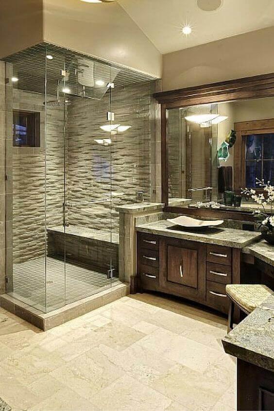 Master Bathroom Ideas with L-Shaped Vanity - Harptimes.com