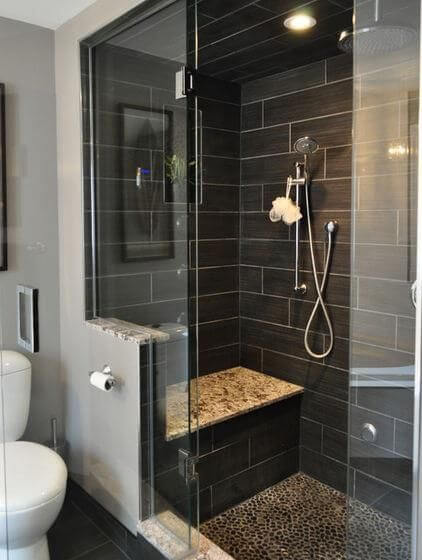 Modern Bathroom with Black Subway Walk In Shower Tile Ideas - Harptimes.com
