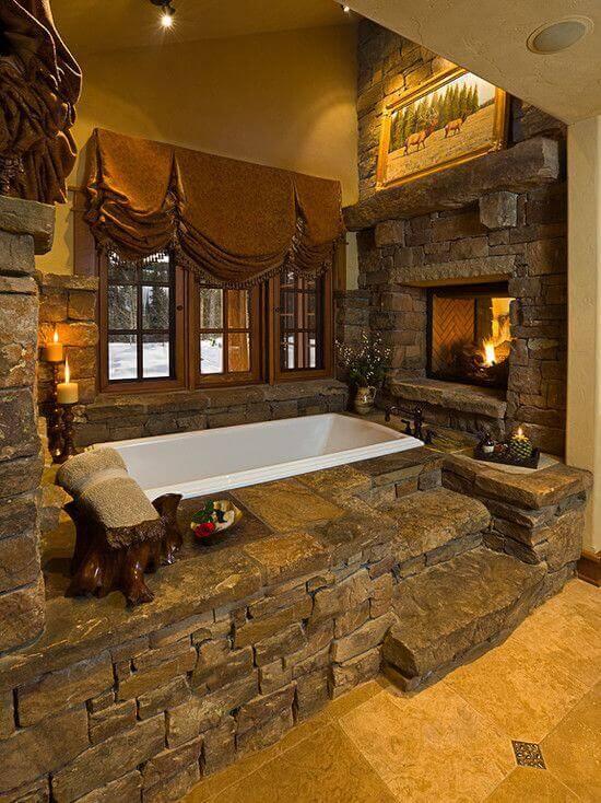 Rustic Bathroom Ideas A Bathroom Filled With Stones - Harptimes.com