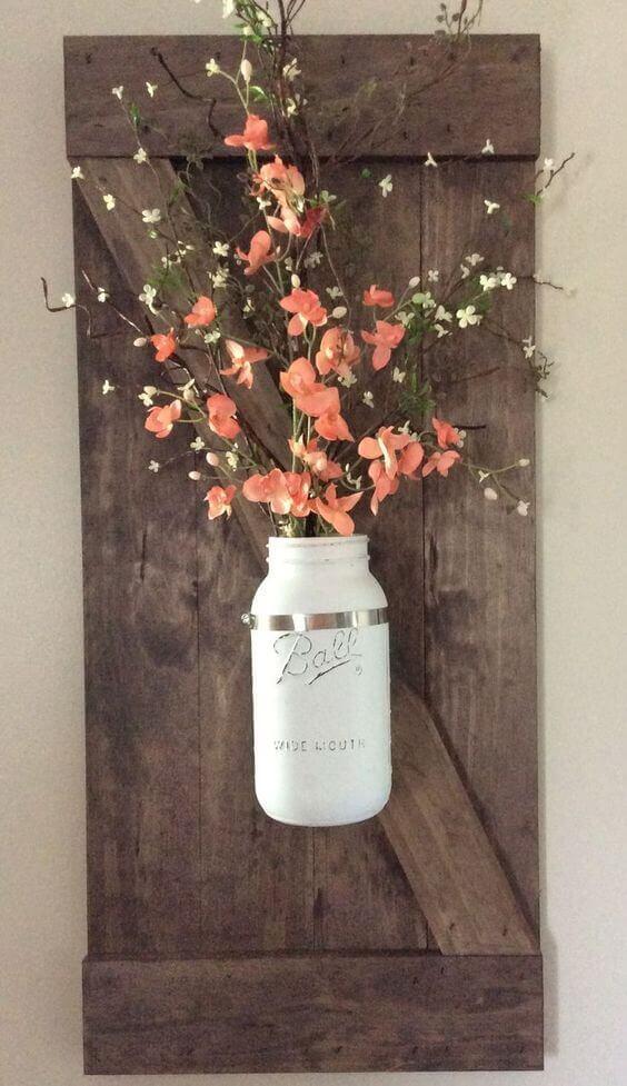 Rustic Bathroom Ideas Potted Flowers Wall Decor - Harptimes.com