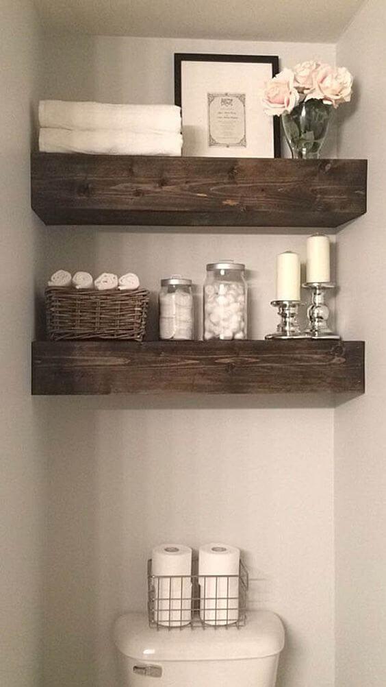 Rustic Bathroom Ideas Rustic Wood Beam Shelves - Harptimes.com