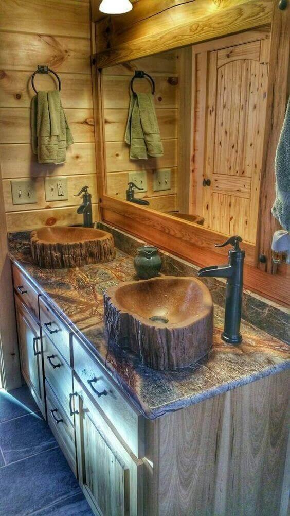 Rustic Bathroom Ideas Wooden Log Sink Tree Basin Made of Concrete - Harptimes.com