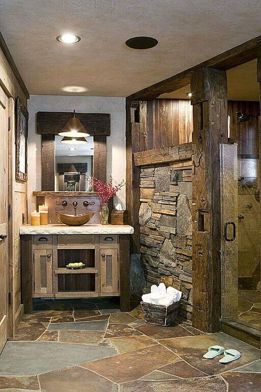 Rustic Master Bathroom Ideas with Artistic Stone Flooring