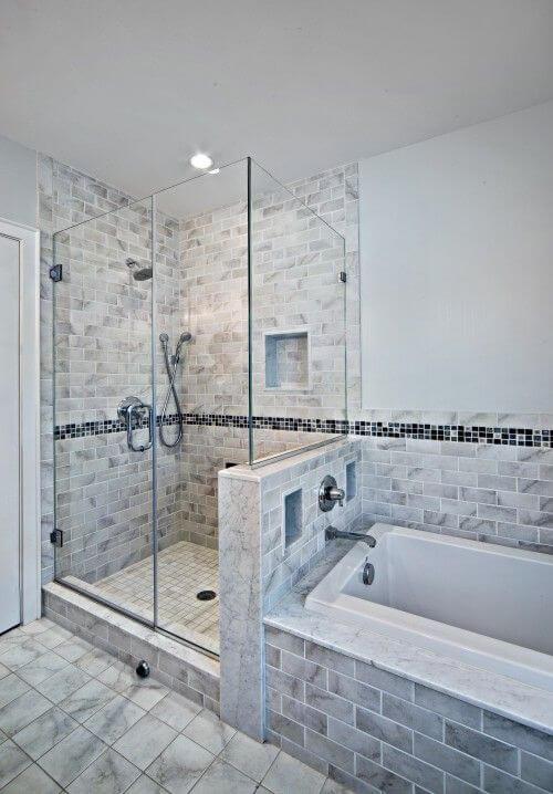 Walk In Shower Tile Ideas Half Bath Half Shower Concept - Harptimes.com