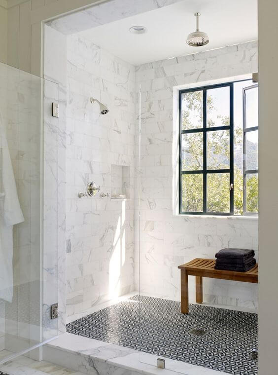 Walk In Shower Tile Ideas with French Window - Harptimes.com