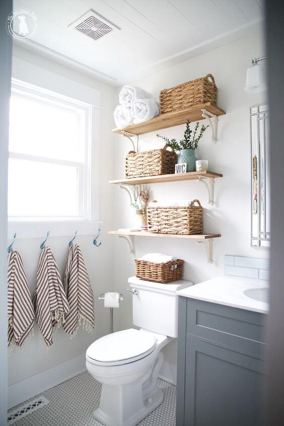 Woven Baskets to Decorate White Master Bathroom Ideas - Harptimes.com