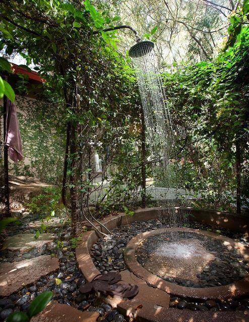Fabulous Outdoor Shower Ideas with Natural Privacy Screen - Harptimes.com