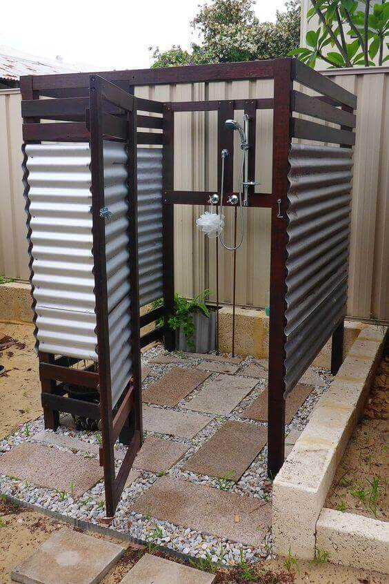 Outdoor Shower Ideas Box with Galvanized Wall - Harptimes.com