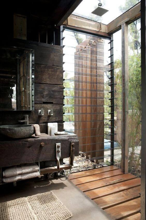 Outdoor Shower Ideas Farmhouse Rustic Bathroom Concept - Harptimes.com