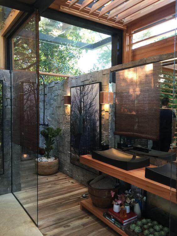 Outdoor Shower Ideas Forest House Bathroom - Harptimes.com