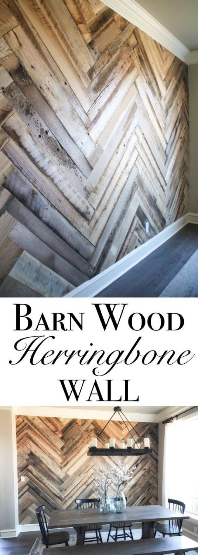 Barn Wood Herringbone Wall Ideas