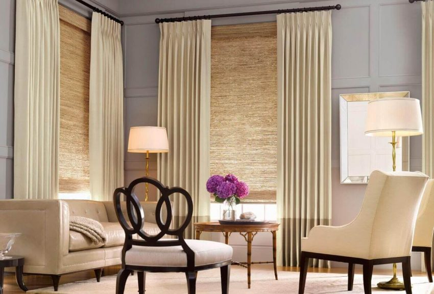Curtains and Blinds Combination for Living Room Ideas - Harptimes.com