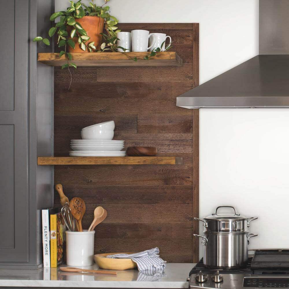 Dark Wood Accent Wall Ideas for Kitchen
