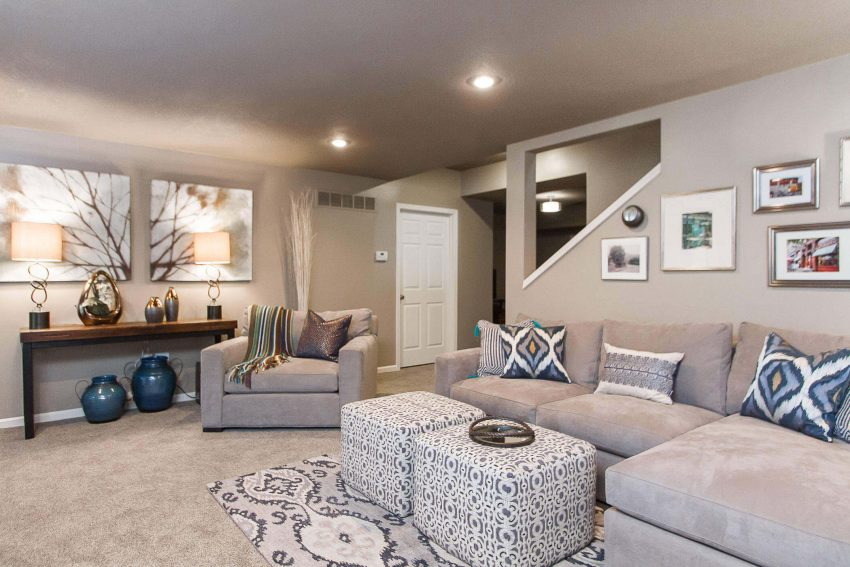 Basement Ideas Decorative Patterns in Neutral Scheme