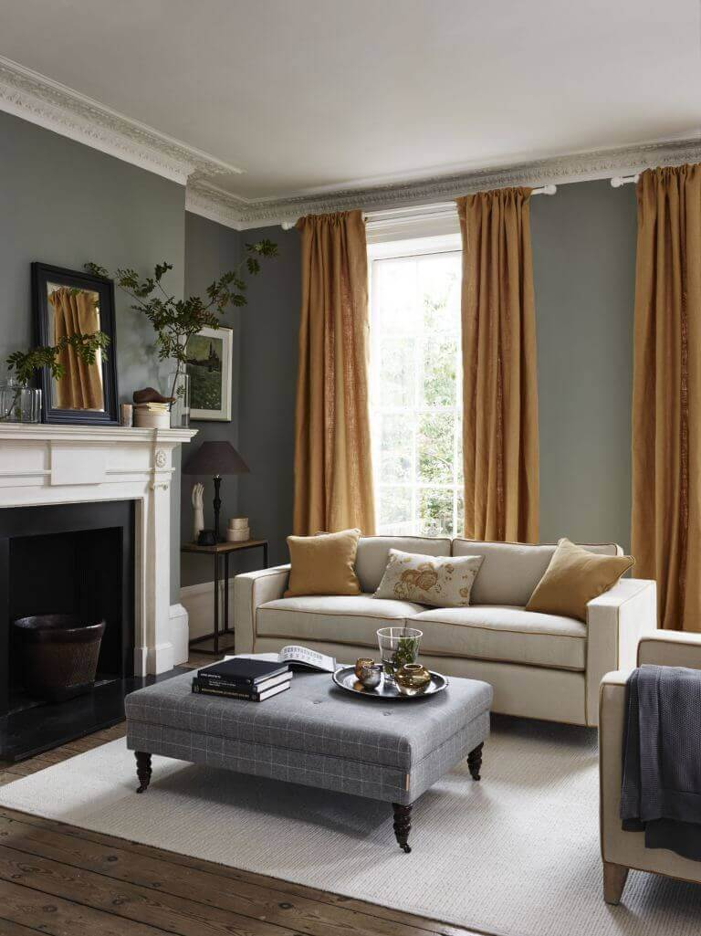 Golden Rod Curtain in Gray Living Room Ideas - Harptimes.com
