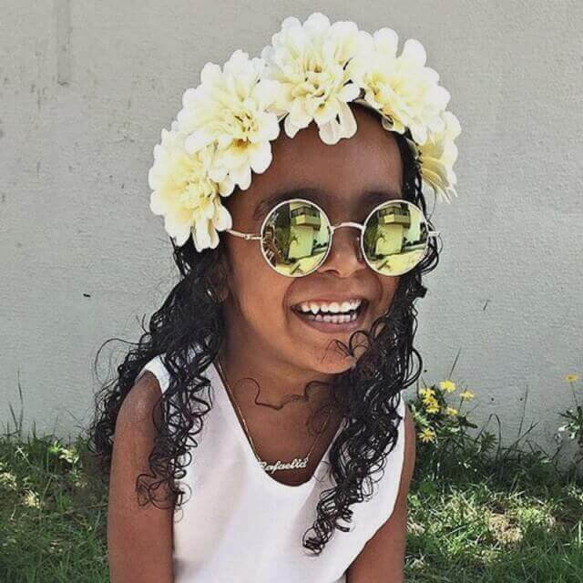 Little Black Girl Hairstyles Free Flowing Curls with Flower Crown