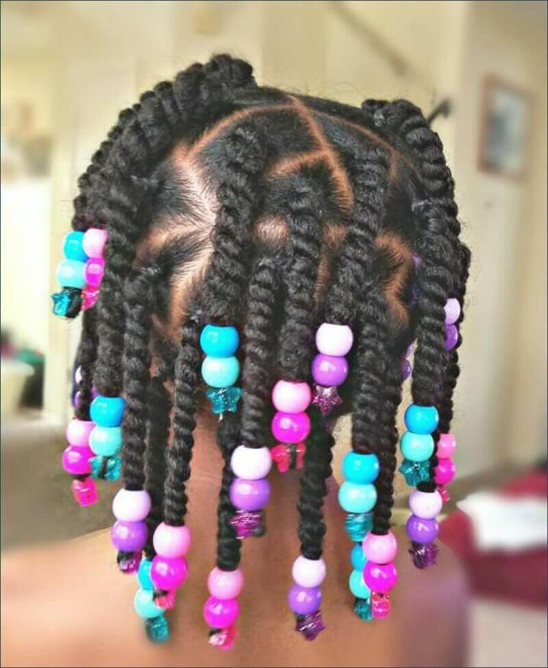 Little Black Girl Hairstyles with Beads