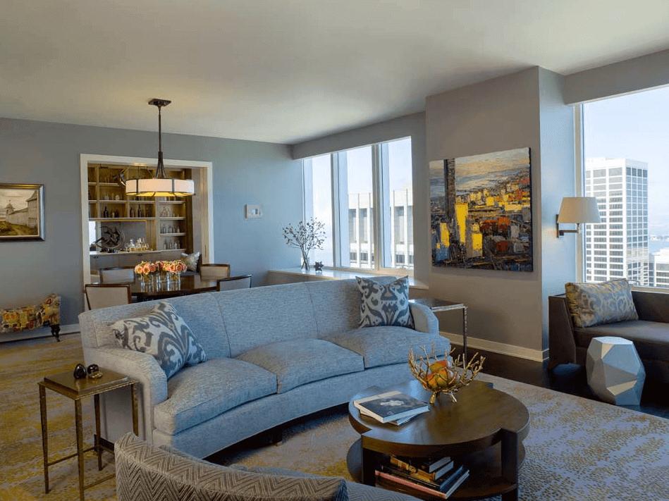 Living Room Decor Idea with Curved Sofa