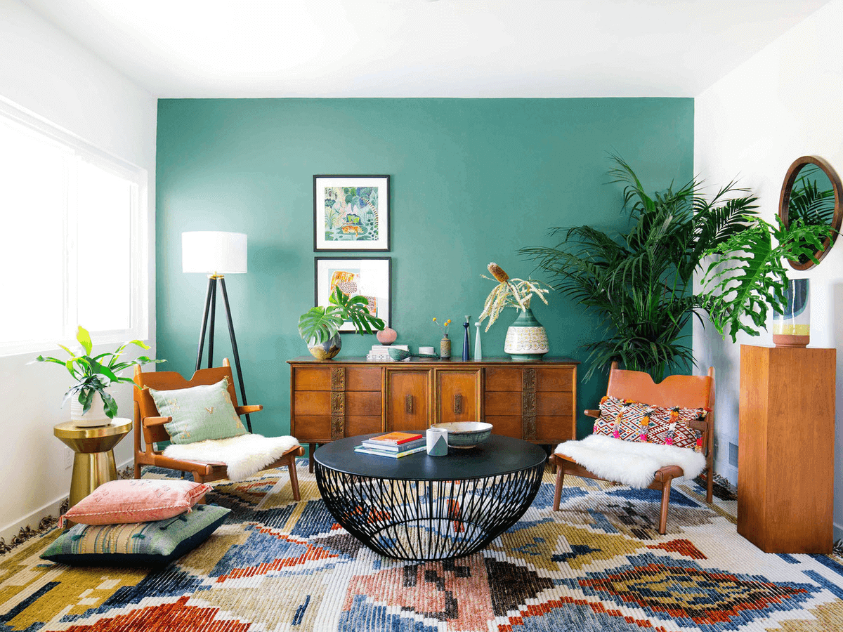 Living Room Decor Ideas with Fresh Accent Wall