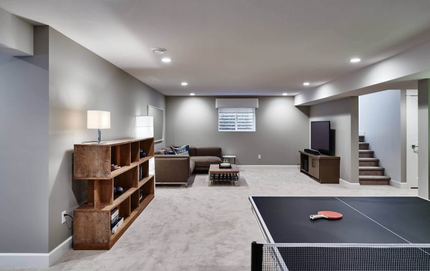 Plain Grey Basement Design Ideas
