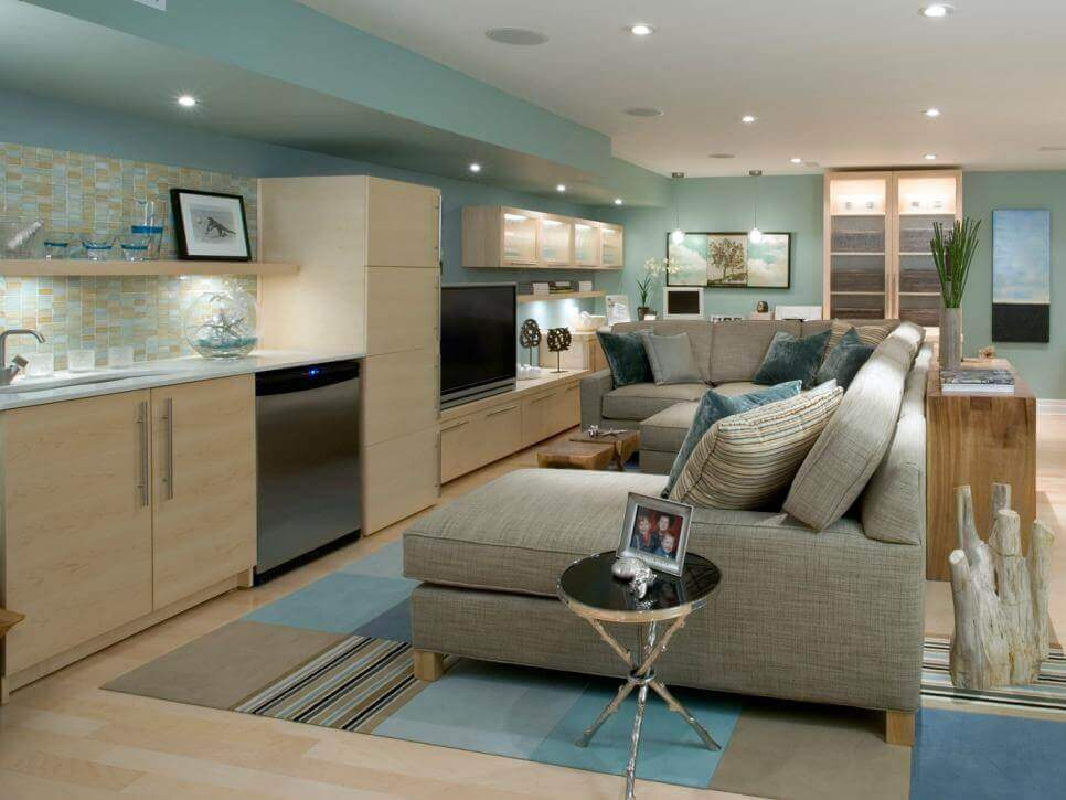 Sea Inspired Basement Interior Ideas